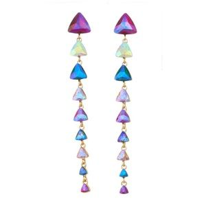 Drop Glass Earrings Triangle Long Gold Crystal NWT